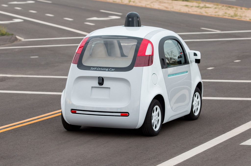 A self driving car at Google headquarters